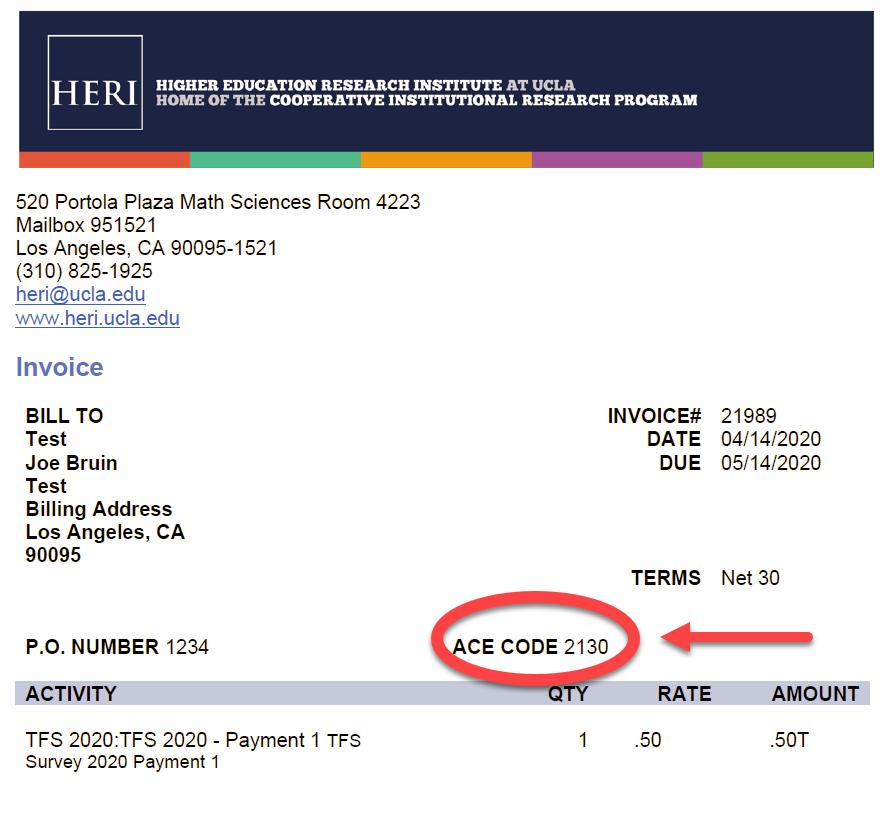Pay Invoice HERI - Invoice zip code